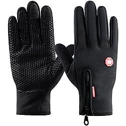 Guantes de Pantalla Táctil para Mujer y Hombre de Invierno Caliente Guantes con Gel Antideslizante de Silicona para Conducción Ciclismo Alpinismo Moto al Aire Libre Teléfono/Tablet de Kungber (M, Negro)