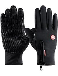 Guantes de Pantalla Táctil para Mujer y Hombre de Invierno Caliente Guantes con Gel Antideslizante de Silicona para Conducción Ciclismo Alpinismo Moto al Aire Libre Teléfono/Tablet de Kungber - Negro (XXL, Negro)