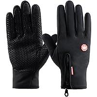 Kungber Guantes de Pantalla Táctil para Mujer y Hombre de Invierno Caliente Guantes con Gel Antideslizante de Silicona para Conducción Ciclismo Alpinismo Moto al Aire Libre Teléfono/Tablet (L, Negro)