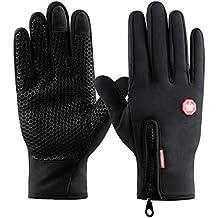 Guantes de Pantalla Táctil para Mujer y Hombre de Invierno Caliente Guantes con Gel Antideslizante de Silicona para Conducción Ciclismo Alpinismo Moto al Aire Libre Teléfono/Tablet de Kungber (L, Negro)