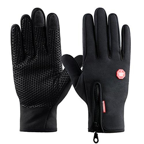 Kungber guanti touch screen per uomo e donna guanti caldi esterni di inverno con silicone antiscivolo per ciclismo alpinismo escursionismo outdoor adatti smartphone/tablet nero (l, nero)