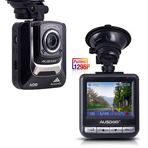 AUSDOM AD282 AutoKamera Dash Cam, 1296p Full HD DVR Video Recorder mit Unfall-Erkennung, 16GB TF Karte enthalten, Nachtsicht, Lens verbesserte Version