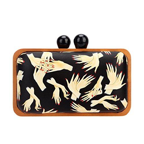 Bonjanvye Hand Pattern Wood Frame Clutch Purses for Women Leather Evening Clutch Black