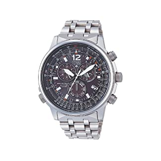 Citizen AS4050-51E – Reloj cronógrafo Ecodrive para hombre, correa de titanio color plateado