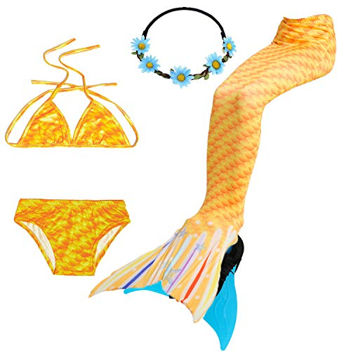 COZY HUT 2019 Premium 5PS Mädchen Cosplay Kostüm Badenbkleidung Meerjungfrauen Schwimmanzug Badeanzüge Meerjungfrauenschwanz für Schwimmen Kinder Farbewahl