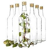 Van Well 6er Set Glasflaschen mit Schraubverschluss Venezia | befüllbare Flasche 1L für Likör, Schnaps & Bier