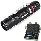 LED taktische Taschenlampe, Ulanda-EU Superhelle 2000 LM XM-L Q5 tragbare LED Zoomable Fackel Licht, Fokus einstellbare LED Military Taschenlampe 3 Licht-Modi mit wiederaufladbare 14500 Akku, Ladegerät, Gehäuse