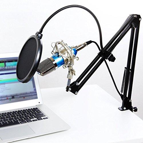 Tonor XLR zu 3.5 mm Kondensator-Mikrofon Kit Schall Podcast Studio Rundfunk & Aufnahme Microphone für Computer mit Popschutz und Verstellbarem Mikrofonhalter Mikrofonarm Mikrofonständer & Mikrofon Sets Blau
