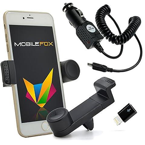 Mobilefox KFZ Handy Lüftungshalterung 360° verstellbar inkl. Lightning Ladekabel SET für Apple iPhone 7/6/5/S/C/SE/Plus Schwarz