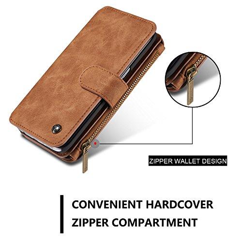 Wkae CaseMe abnehmbare Premium Ledertasche, 13 Kartenfächer, 1 Foto Frame Reißverschluss Magnetische Abdeckung für Samsung Galaxy S7EDGE [5.5Inch] Wallet Case, ( Color : Brown ) Brown
