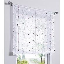SIMPVALE 1 pieza Cortina romano de bordado Altura ajustable cortina de ventana de estilo romana para dormitorio o cocina, Púrpura, ancho 140cm / altura 140cm