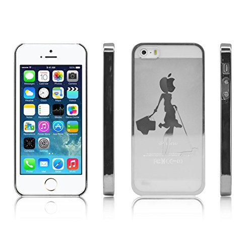 iProtect Schutzhülle Apple iPhone 5, 5s, SE Hülle Walking Dog Edition transparent pink Silber Hund