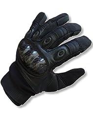 Paintball guantes den-ops negro integral plástico respaldo trasero protector para la mano Airsoft protección, hombre, color negro, tamaño XL