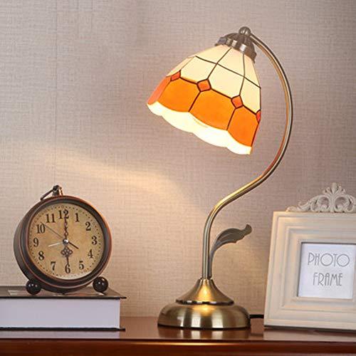 XQDSP Eiserner Tisch Lampenplating-Prozess Kleine Tabelle Lampe mediterranen Stil dekorative Studie Schlafzimmer-Lampe,Orange