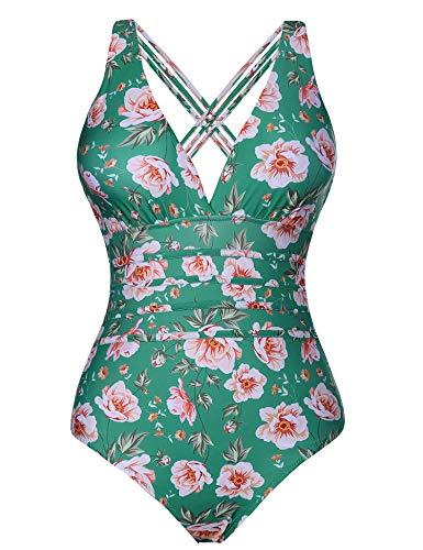 Aibrou Damen Einteiler Badeanzug,Einteilige Bauchweg Bademode Schwimmanzug Schlankheits figurformend Strandmode mit V-Ausschnitt