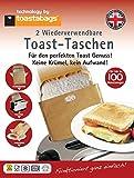 Toast Taschen 2 Stück Wiederverwendbar - Für 100 Benutzungen - Für die Zubereitung leckerer TSandwich in Ihrem Toaster. Toast einfach belegen, in die Toast Tasche einschieben und Toasten. Ihr Toaster bleibt sauber. Toast Tasche unter fließendem Wasser oder Geschirrspüler reinigen.