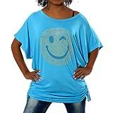 G307 Damen Longshirt Shirt Tunika Bluse Smiley SmilyT-Shirt Tank Top Minikleid, Farben:Türkis;Größen:Einheitsgröße