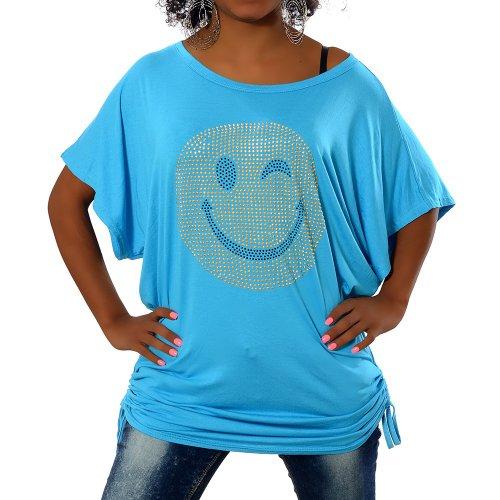 G307 Damen Longshirt Shirt Tunika Bluse Smiley SmilyT-Shirt Tank Top Minikleid, Farben:Türkis;Größen:Einheitsgröße (Shirt Kleid Long)