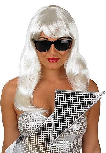 Damen Platinblond Lady Gaga Music Promi Berühmte Person Fransen Perücke & Brillen Kostüm Kleid Kostüm Outfit Accessoire
