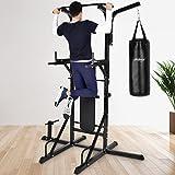 Physionics Fitnessstation Multistation Trainingsstation mit Hantelbank und Sandsack max. Tragegewicht von 220 kg
