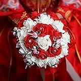 aoeiuv Brautsatinsträuße Mit Künstlichen Rosensträußen Hochzeitssträuße/Rot, Red