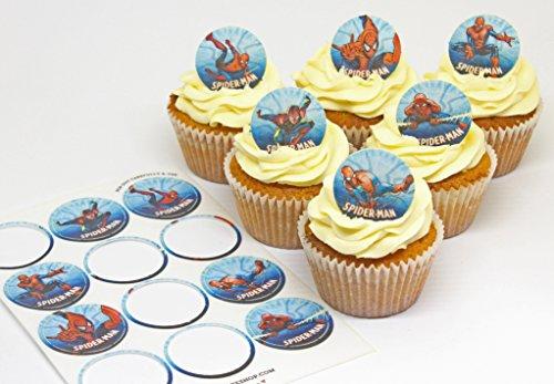 Cakeshop 12 x VORGESCHNITTENE UND ESSBARE Spiderman Comic Kuchen topper (Tortenaufleger) - 3