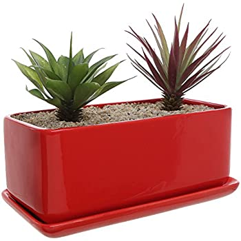 10 Inch Rectangular Modern Minimalist Red Ceramic