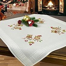 Juego de bordado CHRISTMAS BÚHOS / Juego completo de mantel previamente dibujado para el bordado en punto de cruz / Kit de bordado / Bordado para el Adviento y la Navidad
