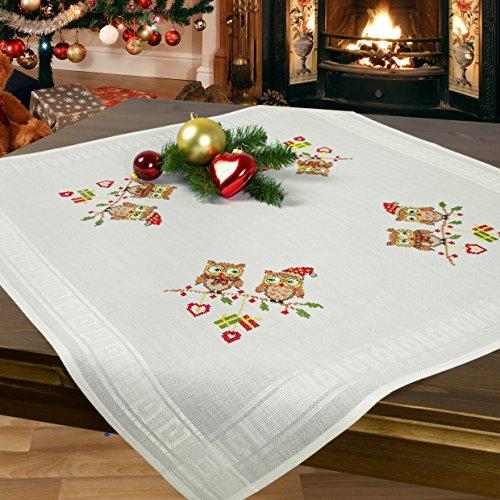 Stickpackung CHRISTMAS EULEN / Komplettes vorgezeichnetes Kreuzstich Tischdecken Set / Winter Stickset mit Stickvorlage für Erwachsene / Sticken zur Adventszeit und Weihnachten