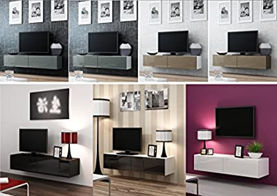 High Gloss TV Stand Cabinet Wall Mountable   Floating Entertainment Unit 140cm