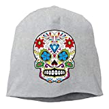 CHKWYN Mexico Floral Sugar Skull Diamond Unisex Warm Winter Hat Knit Skull Beanie Slouchy Beanie Hat/Cap Black