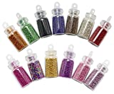SelfTek 12Pcs Nail Art Tips Caviar Beads Nail Art Mini Bottles Micro Balls for Nail Art Tips Decoration Multi-Color