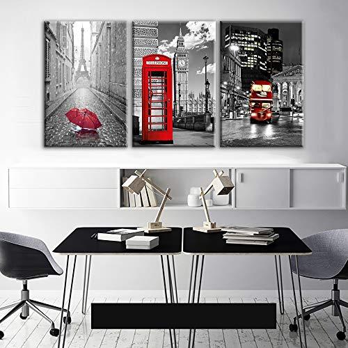 Moderne Wandkunst Rahmen Leinwand Bilder 3 Stücke Paris Schwarz Weiß Eiffelturm Rot Auto Regenschirme Gemälde Poster Wohnkultur-L