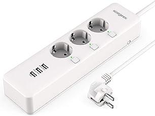 Smart Plug Koogeek Intelligente Wifi Steckdose funktioniert mit Alexa/Echo mit Apple HomeKit mit Google Assistant mit Siri Remote Control auf 2.4 GHz Netzwerk (Steckdosenleiste)