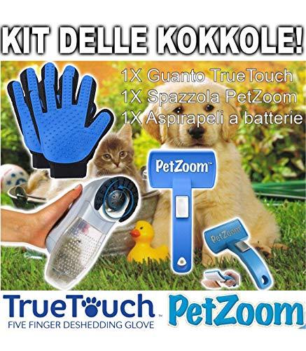 Trade shop traesiokit delle coccole true touch + petzoom + aspirapeli per la pulizia cani e gatti