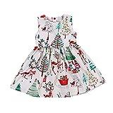 Babykleider,Sannysis Baby Mädchen Festlich Kleid Kinder Ärmelloses Weihnachten Cartoon Print Kleid Kleinkind Weihnachtskostüm