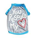 Hawkimin Haustierweste Baumwolle Frühling Sommer You Rescued My Heart Foot Prints Atmungsaktiv Nettes Kleine Hundekatze-Haustier-Kleidungs-T-Shirt Welpe Bekleidung Sportswear