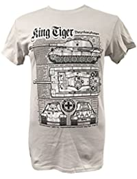The Wooden Model Company Ltd King Tiger Tank/Military T Shirt with Blueprint Design