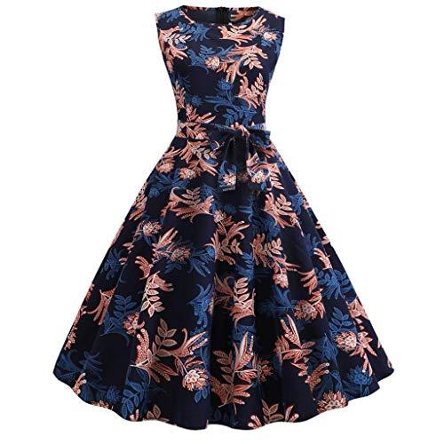 ITISME Damen 50s Vintage Rockabilly Kleid Jersey Sommerkleid Abendkleid getreift Pin Up Gr.S~4XL