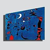 Quadro Joan Mirò luna - RIPRODUZIONE STAMPA SU TELA Quadri Moderni Moderno Arte Astratto Cucina Soggiorno Camera da letto printerland.it (70x100 cm)
