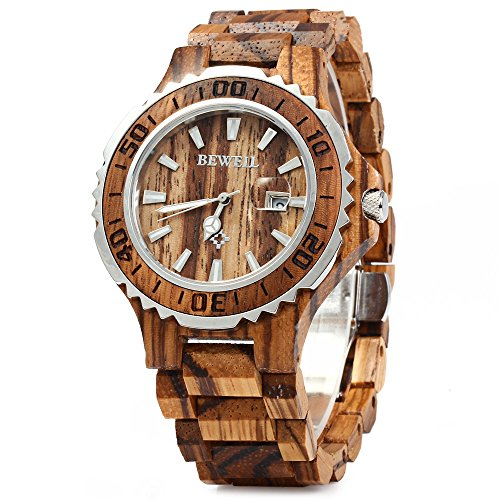 Image of GBlife BEWELL ZS-100BG Mens Wooden Watch Analog Quartz Movement with Date Display Retro Style- Zebra Wood