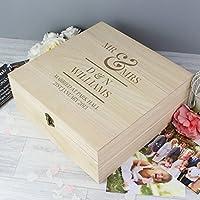 Personalised Mr & Mrs Large Wooden Keepsake Box Wedding Anniversary Honeymoon Gift Idea