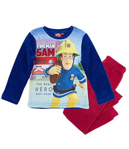 Feuerwehrmann Sam Jungen Pyjama aus Teddy Vlies - blau - 110 (Pyjama-hosen Jungen Fleece)