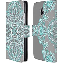 Official Micklyn Le Feuvre Teal And Aqua Lace Mandala 3 Leather Book Wallet Case Cover For HTC One mini