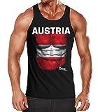 EM Tanktop Herren Fußball Österreich Austria Flagge Fanshirt Waschbrettbauch Muskelshirt MoonWorks schwarz L