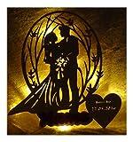 Schlummerlicht24 3d Holz Led Schlafzimmer-Lampe Marry Geschenk mit Namen Datum zum Hochzeitstag Jubiläum im Schlafzimmer