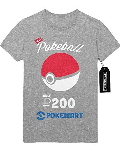 T-Shirt Pokemon Go NEW Pokeball Only 200 Pokedollar at Pokemarkt Catch 'Em All Hype Kanto X Y Nintendo Blue Red Yellow Plus Hype Nerd Game C980107 Grau