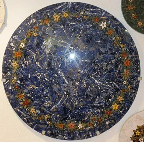 Agata mineral import capolavoro - da tavolo - mosaico di pietre semipreziose - sodalite blu decorata con fiori di pietre diverse - diametro 110 cm