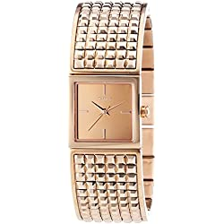 DKNY Women's Quartz Watch with Black Dial Analogue Display and Gold Stainless Steel Plated NY2232