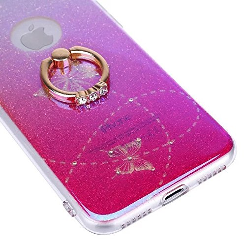 Etsue Glitter Silikon Schutzhülle für iPhone 6 Plus/6S Plus TPU Case, Bunte Schmetterling Blume Plating TPU Case Sparkle Strass Silikon Crystal Clear Case Bling Soft Back Cover Glitzer Kirstall Glänze Golden Butterfly